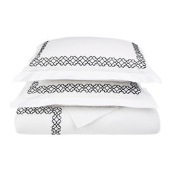 Clayton King/Cal - King Duvet Cover Set Cotton - White/Black - The Clayton Duvet Cover Set offers boundless relaxation and a refreshing sleep. The set is made from 100% premium quality cotton and features a graceful rustic pattern along the border of the duvet and the pillow shams. Update your bedroom at a reasonable price. Set includes One Duvet Cover 106x92 and Two Pillow-shams 20x36 each.