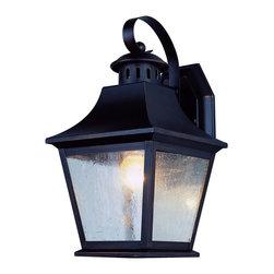 Joshua Marshal - One Light Antique Nickel Clear Seeded Glass Wall Lantern - One Light Antique Nickel Clear Seeded Glass Wall Lantern