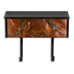 Robins Locking Wall-Mount Copper Mailbox with Newspaper Holder - Add a touch of spring to every day with this locking wall mount copper mailbox. The front is hand-embossed with robins and flowers, and is accented with the addition of subtle color.
