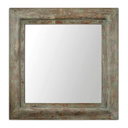 Uttermost - San Paolo Antique Mirror - Weathered and wonderful, this mirror brings a rustic touch to your decor. Its strong square shape and variegated finish lend casual elegance to any setting.