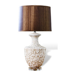 "Kathy Kuo Home - Kendall Shabby Chic Floral Urn Wood Shade Lamp - ""The perfect lighting option for any shabby chic interior, the Kendall Ceramic Lamp flaunts a ceramic and wood form that is detailed with an ornate floral pattern, finished in an antique white and supported by an acrylic base.  Completed by a round, chocolate-colored lampshade, this lamp is sure to appeal to the design-conscious, serving as a functional, decorative piece in the modern chic home."