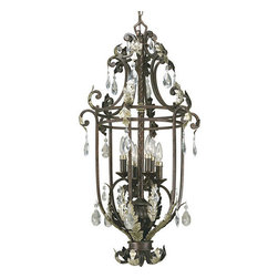 Thomasville Lighting - Thomasville Lighting P3545-72 Savona 6 Light Foyer Pendant - Thomasville Lighting P3545-72 Six Light Savona Foyer PendantFeaturing an opulent Neoclassical style, this six light open urn shaped pendant will make a stately addition to any foyer or dining room. Featuring a forged iron framework with scroll and acanthus leaf details, the aged silver leaf highlights and cut glass pendalog drops only serve to enhance an already ornate and beautiful fixture.With a Warm Cognac finish and forged iron arms, the Savona collection features glass pendalog drops, silver leaf accents, clear hammered glass and Cognac candles with silver caps.Thomasville Lighting P3545-72 Features:
