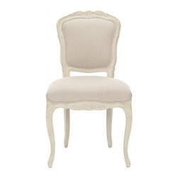 Safavieh - Aymara Side Chair - Country French in every detail, the Aymara side chair by Safavieh is a timeless Louis XV harp back design in beautifully carved oak with a distressed white finish. Taupe beige linen allows this charming dining chair to complement myriad color schemes.