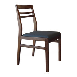 Gingko Home Furnishings - Lewis Dining Chair, Medium Walnut Azure Blue Seat - Mid-century modern inspired styling
