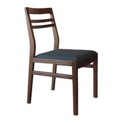 Gingko Home Furnishings - Lewis Dining Chair, Medium Walnut Azure Blue Seat - Mid-century modern inspired styling