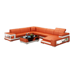 Scene Furniture - Aubrey Sectional Sofa, Orange, Add Matching Coffee Table - Guests and family alike will enjoy the appearance and comfort of the Aubrey Sectional Sofa. From Scene Furniture, this unique sofa offers plenty of seating in top grain Italian leather. The side shelves and side light add functionality to the beauty. The matching coffee table is optional.