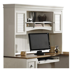 Bush - Bush Fairview Antique White Hutch for L-Desk - Bush - Hutch - WC5323103 -Build a majestic tower with the stately Bush Fairview Desk Hutch, which fits easily atop the Bush Fairview L-Shaped Computer Desk. This elegant hutch features an antiqued two-tone finish, subtle moldings, antique-style hardware and other beautiful details.