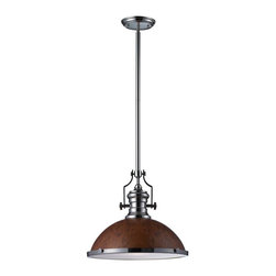 Joshua Marshal - One Light Polished Nickel Burl Wood Shade Down Pendant - One Light Polished Nickel Burl Wood Shade Down Pendant