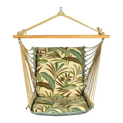 """Algoma - Soft Comfort Cushion Hammock Chair - If you're looking for relaxation and comfort in the setting of your choice then this hanging chair has your name written all over it! Take a nap on a lazy summer's day or read you're favorite novel while hanging from a tree, porch, patio or model 4740BR chair stand. Features: -Made of spun polyester.-Thick 100% mildew resistant polyester rope cord.-Sturdy hardwood spreader bar.-Extra thick foam filled seat and back.-Extra wide seating.-Heavy duty macram clewed ends on outdoor plated steel rings.-Model 4370 stand sold separately.-Weight capacity: 275 lbs.-Distressed: No.-Hardware Included: No.-Weather Resistant or Weatherproof: Weather resistant.-UV Resistant: No.-Fade Resistant: No.-Stain Resistant: No.-Quick Dry Material: No.-Frame Compatibility: Compatible with frame model 4750BR.-Frame Included: No.-Canopy Included: No.-Cushions Included: No.-Tufted Cushions : No.-Cushion Attachment Detail: Ties.-Storage Bag Included: No.-Seating Capacity: 1.-Commercial Use: No.-Eco-Friendly: No.-Product Care: Store in dry place when not in use. Spot clean with mild soap..-Country of Manufacture: United States.Specifications: -FSC Certified: No.Dimensions: -Spreader bar: 40'' W.-Overall dimensions: 28'' H x 40'' W x 22'' D.-Hammock Thickness: 5"""".-Hammock Width - Side to Side: 26"""".-Hammock Depth - Front to Back: 22"""".-Overall Product Weight: 7 lbs.Warranty: -Product Warranty: 1 Year."""