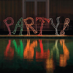 "Frontgate - Lighted Party Sign - Durable, powdercoated 1/4"" steel frames withstand the elements. Polycarbonate caps protect the long-lasting LED bulbs. Arrives with spare bulbs, fuses, and plastic caps. Includes sturdy yard stakes. Plugs into a standard outlet. There's no question it's a party with our exclusive Lighted Party Sign. More than 9 ft. wide, this festive sign is crafted to commercial-quality standards with an all-weather, powdercoated steel frame that is densely wrapped with colorful LED lights.  .  .  .  .  . Folds for easy storage . Minor assembly ."