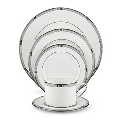 Lenox 'Westerly Platinum' 5-Piece Place Setting - If you're planning to host a dinner around the holidays, these swanky settings resemble the motifs in jewelry of the 1920s.