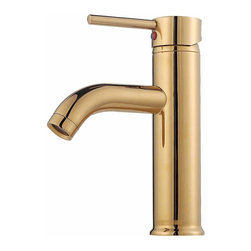 Renovators Supply - Faucets Brass Round Single Lever Faucet | 13119 - Single Hole Faucets: Our single lever faucet is constructed of solid brass PVD, and has a top rated 500,000 cycle cartridge. This short single lever faucet has a curved spout and round body. Faucet comes with supply lines and mounting hardware. Measures 7 inch H x 6 inch projection x 2 1/2 inch from spout to counter.