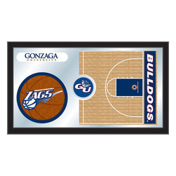 "Holland Bar Stool - Holland Bar Stool Gonzaga Basketball Mirror - Gonzaga Basketball Mirror belongs to College Collection by Holland Bar Stool The perfect way to show your school pride, our basketball Mirror displays your school's symbols with a style that fits any setting.  With it's simple but elegant design, colors burst through the 1/8"" thick glass and are highlighted by the mirrored accents.  Framed with a black, 1 1/4 wrapped wood frame with saw tooth hangers, this 15""(H) x 26""(W) mirror is ideal for your office, garage, or any room of the house.  Whether purchasing as a gift for a recent grad, sports superfan, or for yourself, you can take satisfaction knowing you're buying a mirror that is proudly Made in the USA by Holland Bar Stool Company, Holland, MI.   Mirror (1)"
