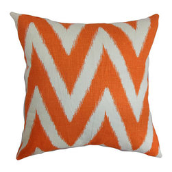 The Pillow Collection - Bakana Orange 18 x 18 Zigzag Throw Pillow - - Pillows have hidden zippers for easy removal and cleaning  - Reversible pillow with same fabric on both sides  - Comes standard with a 5/95 feather blend pillow insert  - All four sides have a clean knife-edge finish  - Pillow insert is 19 x 19 to ensure a tight and generous fit  - Cover and insert made in the USA  - Spot clean and Dry cleaning recommended  - Fill Material: 5/95 down feather blend The Pillow Collection - P18-D-42321-MELON-C95L5