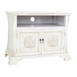 Wayborn - Medallion TV Cabinet, White - Medallion Tv Cabinet Wht.