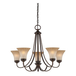 Quoizel - Quoizel ALZ5005PN Aliza Transitional Chandelier - Aliza is elegant and stylish a beautiful collection for todays home.  Featuring sleek oval tubing and a versatile Palladian Bronze finish, this collection compliments any decor with trumpeted fluted glass in a soft gradient amber mist.