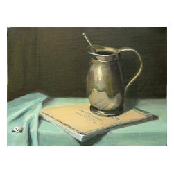 Silver Pitcher On Bach Score, Original, Painting - Inna Lazarev's elegant painting portrays simple everyday beauty. This signed piece will effortlessly dress up your dining room or living room.