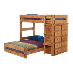 Chelsea Home Twin over Full Loft Bed with 10 Drawer Chest - Ginger Stain - The perfect arrangement for kids of all ages the Chelsea Home Twin over Full Loft Bed with 10 Drawer Chest - Ginger Stain features the ultimate in convenient and stylish design. The rustic natural appeal features a warm ginger stain for lasting beauty. The full over twin bunk allows for comfort while ten built-in drawers adds organization while saving space. About Chelsea Home FurnitureProviding home elegance in upholstery products such as recliners stationary upholstery leather and accent furniture including chairs chaises and benches is the most important part of Chelsea Home Furniture's operations. Bringing high quality classic and traditional designs that remain fresh for generations to customers' homes is no burden but a love for hospitality and home beauty. The majority of Chelsea Home Furniture's products are made in the USA while all are sought after throughout the industry and will remain a staple in home furnishings.