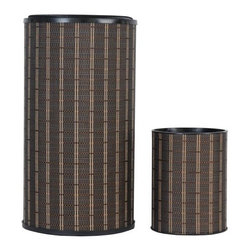 Lamont Home - Barton Round Hamper/Wastebasket Set Black/Brown - Made from high quality PVC/Polyester fabric, these traditional styles have been updated in a wide range of patterns to match any decor. A vinyl lid with metal grommet completes the look for the hamper. A very durable product that adds style to any laundry room.