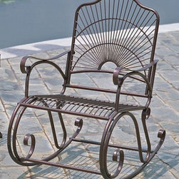 International Caravan - Sun Ray Outdoor Rocker in Wrought Iron - In copper hammered finish. Made of iron. Uses EP protection. Smooth scrollwork. 22 in. W x 31 in. D x 36 in. H