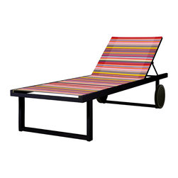 Mama Green - Stripe Lounger, Red - The Stripe collection was introduced by Mamagreen in 2013 and has been a show stopper ever since. The concept of the fabric was derived from the beautiful weaves found in Navajo blankets. The combination of this custom outdoor upholstery by Twitchell mixed with the durability of powder coated aluminum and Leisuretex cushions makes the Stripe line fit for all environments, contract/hospitality and residential. Stripe can be fully customized in terms of size, shape, and color.