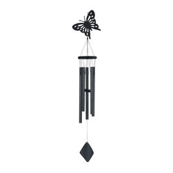 GSC - 41 Inch Black Coated Butterfly Metal Tube Wind Chime - This gorgeous 41 Inch Black Coated Butterfly Metal Tube Wind Chime has the finest details and highest quality you will find anywhere! 41 Inch Black Coated Butterfly Metal Tube Wind Chime is truly remarkable.