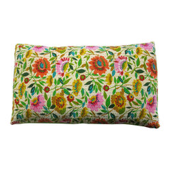 Kim Parker Inc. - Anil's Garden Kantha Pillow Sham - You'll be peaceful as a reclining Buddha with this pillow sham. An enchanted garden of brightly colored flowers blooms across 100 percent cotton from India. And it features Kantha-style embroidery in a horizontal running stripe to enlighten your space and mood.
