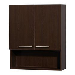 Wyndham Collection - Amare Bathroom Wall-Mounted Storage Cabinet in Espresso (Two-Door) - The Amare family of wall-mounted storage cabinets delivers beautiful wood grain exteriors offset by modern brushed chrome accents. The simple clean lines of the Amare family of storage cabinets are no-fuss and all style.