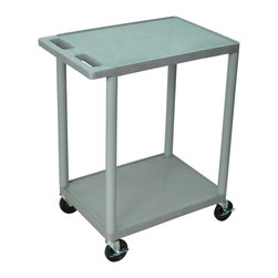 Luxor Furniture - 24 in. Utility Cart w 2 Shelves in Gray - High density polyethylene structural foam molded plastic shelves. Legs that won't stain, scratch, dent or rust. Retaining lip around the back and sides of flat shelves. Push handle molded into the top shelf. Four heavy duty 4 in. casters, two with brake. Shelves are reinforced with two aluminum bars. Clearance between shelves: 26 in.. Capacity: 300 lbs.. Made from polyethylene, plastic and aluminum. Minimal assembly required. Made in USA. 24 in. L x 18 in. W x 33.5 in. H. Warranty