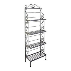 """Grace - Baker's Rack - Features: -Artistically crafted in wrought iron.-Distressed: No.-Adjustable Shelves: No.-Shelf Weight Capacity: 25 lbs.-Country of Manufacture: United States.-Powder Coated Finish: No.-Shelf Material: Wire.-Rust Resistant: Yes.-Fade Resistant: Yes.-Scratch Resistant: No.-Tarnish Resistant: Yes.-Weather Resistant or Weatherproof: Not weather resistant.-Stain Resistant : Yes.-Number of Shelves: 4.-Removable Serving Tray: No.-Wine Bottle Storage: No.-Wine Glass Storage: No.-Foldable: No.-Product Weight Capacity: 100 lbs.-Outdoor Use: No.-Swatch Available: Yes.-Commercial Use: Yes.-Recycled Content : No.-Product Care: Wipe clean with a damp cloth.Dimensions: -Shelf Height: 14.5"""".-Shelf Width - Side to Side: 23.875"""".-Clearance from Floor to Bottom Shelf: 6"""".Assembly: -Assembly Required: No.-Additional Parts Required: No.Warranty: -Product Warranty: 1 year warranty."""