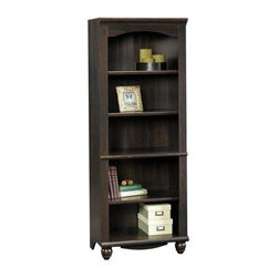 Sauder - Harbor View 5 Shelf Bookcase in Antique Paint - 3 Adjustable shelves. Enclosed back panel has cord access. Detailing includes solid wood turned feet. Made of engineered wood. Assembly required. 27 in. W x 17 in. D x 72 in. H