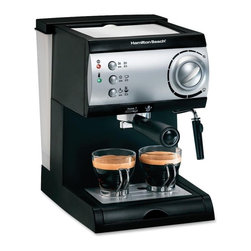 Hamilton Beach - Espresso Maker - From Hamilton Beach, get cafe quality results with this Espresso Maker. Works with easy-serving espresso pods or ground coffee. It features a powerful 15-bar Italian pump, no-fuss frother that lets you enjoy cappuccino too, easy-fill removable water reservoir and simple push-button operation.