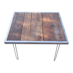 Mt Hood Wood Works - Hammered Steel Dining Table With Hairpin Legs 36X36 - This Industrial Hammered steel Dining Table with hairpin legs can make the perfect dining table for two or four people. It is made from Salvaged Barnwood. Rough cut old barnwood with a new purpose. Durable, high quality hairpin legs give the rustic wood a modern touch. Has a 2 inch hammered steel frame around the entire table. Made from Old Growth Douglas Fir. Table is finished with a clear, high traffic polyurethane, which provides maximum protection to scratching and scuffing - for maximum durability. Rustic and made to last forever. The table that you purchase may have slightly different characteristics then the one in the picture.