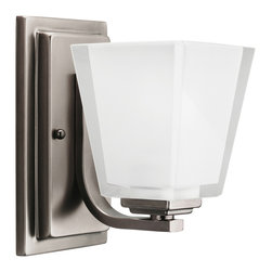 Kichler 1-Light Bath Fixture - Antique Pewter - One Light Bath Fixture Bringing a new dimension to bath lighting is the play of chunky glass, which is polished on the exterior and etched on the interior, all fastened to a stacked one light fixture in antique pewter finish. A warm and stylish architecture for your bathroom. 100-w. Max. Width 4-1/2, height 8, extension 7. Fixture may be installed with glass up or down. Height from center of wall opening with glass up is 4. Backplate size: 4-1/2 x 8. U. L. Listed for damp location.