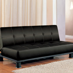 Coaster - Black Transitional Sofa Bed - Standard foam sofa bed offered in two colors: black and beige vinyl. Constructed of a hardwood frame, metal, and spring base.