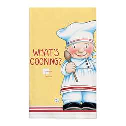 372-Whats Cooking By Mary Engelbreit Dish Towel - Brighten up any kitchen with Mary Engelbreit's Collection.  Silkscreened on 100% cotton, lint free and wate absorbent.