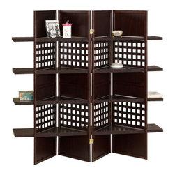 "ADAD5459 - 4 Panel Espresso Finish Wood Room Divider Shoji Screen with 4 Shelves - 4 panel espresso finish wood room divider shoji screen with 4 shelves in the center. Made with an espresso finish wood frame and 4 shelves in the centers. Measures each panel 18"" W x 59"" H."