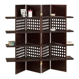"Asia Direct - 4 Panel Espresso Finish Wood Room Divider Shoji Screen with 4 Shelves - 4 panel espresso finish wood room divider shoji screen with 4 shelves in the center. Made with an espresso finish wood frame and 4 shelves in the centers. Measures each panel 18"" W x 59"" H."