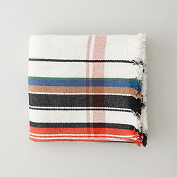 Multi-Stripe Blanket - As a modern update on Hudson Bay–style camp blankets, the Khadi and Co. striped blanket is perfect for snuggling.
