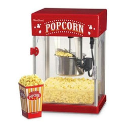 Focus Electrics - Theater Corn Popper 2.5 Oz. - West Bend 2.5-oz. Heating Kettle with motorized stir rod Kettle pops up to 2.5-oz. corn.  1 gallon of popcorn or 8 cups of popcorn per batch.  Heating Kettle disassembles for cleaning Hinged Front Door Kettle is removable for easy cleanup.  Stainless Steel construction provides durable life and easy cleaning.  Removable for easy cleaning.  Fully assembled Clear Cabinet  is made of easy to clean plastic sidewalls and is resistant to oils and greases.  See through feature provides fun popcorn popping experience.  Cabinet holds up to 1.5 gallons of freshly popped popcorn.  On/Off switch with light Cabinet light is on for popping.  Turning the popper off will also turn the light off so it won't disturb your movie viewing atmosphere!  Includes removable serving tray and two measuring cups for perfect popped results.  1 Year.  300 watts
