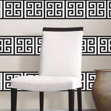 Nixon Stripe WallPops by Jonathan Adler Designer Wall Art - Black and white wall decals with a modern Greek key motif. Designer wall art by Jonathan Adler for WallPops