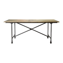 Curations Limited - Small Vintage Wood and Metal Dining Table -