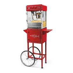 "Frontgate - Popcorn Cart - Handled cart has a side prep shelf, spacious storage for supplies behind the door, and smooth-gliding rubber wheels.25""W x 17""D x 36-1/2""H, 19-1/2 lbs."