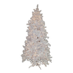 None - 6.5-foot White Pre-lit Mixed Pine Christmas Tree - Fill your home with holiday spirit,with this sparkling white pre-lit mixed pine Christmas tree. Designed with hinged branches for an easy set up,this 6.5-foot Christmas tree is perfect for showcasing your favorite ornaments and decorations.