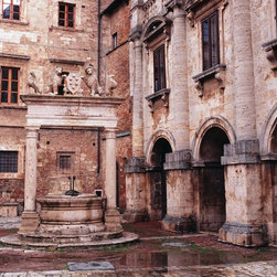 Murals Your Way - Piazza Grande Well In Tuscany Wall Art - Photographed by Dietrich Leis Stock Photography, the Piazza Grande Well in Tuscany wall mural from Murals Your Way will add a distinctive touch to