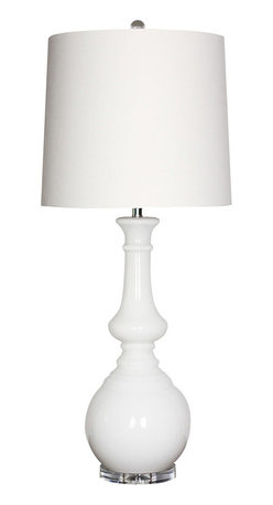 """Surya - Surya Milk Glass White Table Lamp - This Surya table lamp marries retro style with modern form. Beneath a white shade, the fixture's gracefully curved milk glass base meets an acrylic accent for contemporary glamour. 16""""W x 15""""D x 17""""H; White glass; Faux silk white shade; Clear cord; Three-way metal turn knob; Decorative finial; Accepts one 150W max bulb (not included)"""