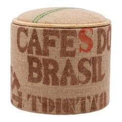 Pomada - Cafe Do Brasil Mini Box Ottoman - This little piece will quicken your pulse faster than any double shot of espresso. It's crafted from ecofriendly OSB, then upholstered in genuine jute coffee sacks. It offers space for your feet, your seat and your extra stuff inside, and the top flips over to make a perfect side table.