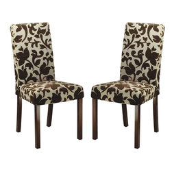 Safavieh - Parsons Dining Chair (Set Of 2) - A thin profile and pared-down styling get dressed up in a chocolate brown and cream floral fabric in our classic Parsons dining chair, which features elegant, tall back and minimalist straight birch wood legs, finished in cherry mahogany. Sold in set of two.