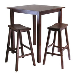 """Winsome - Parkland 3 Piece Table with 2 Saddle Seat Stools Set - Features: -Set includes table and two saddle stools. -Dining table. -Antique walnut finish. -Material: solid wood. -Some assembly required. Dimensions: -Table: 38.98"""" H x 33.86"""" W x 33.86"""" D. -Chair: 28.9"""" H x 17.91"""" W x 15.8"""" D."""
