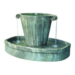 Campania - Anfora Garden Fountain, Alpine Stone - The Anfora Garden Fountain offers a contemporary and unique design. water bubbles from the top and spills from both sides into the basin below.